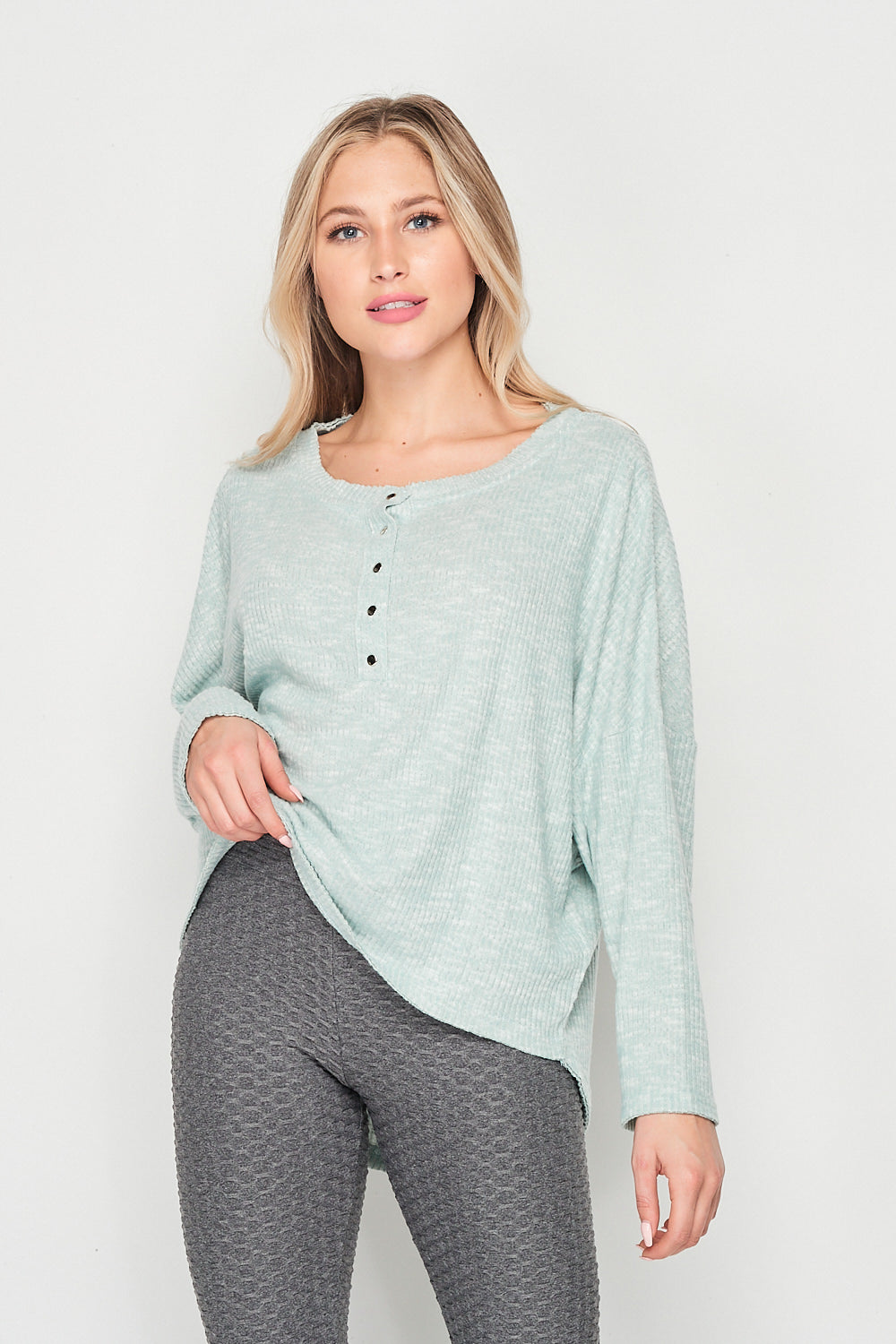 Blank Lewks | Roxy Long Sleeve Soft Knit Henley Top | Mint