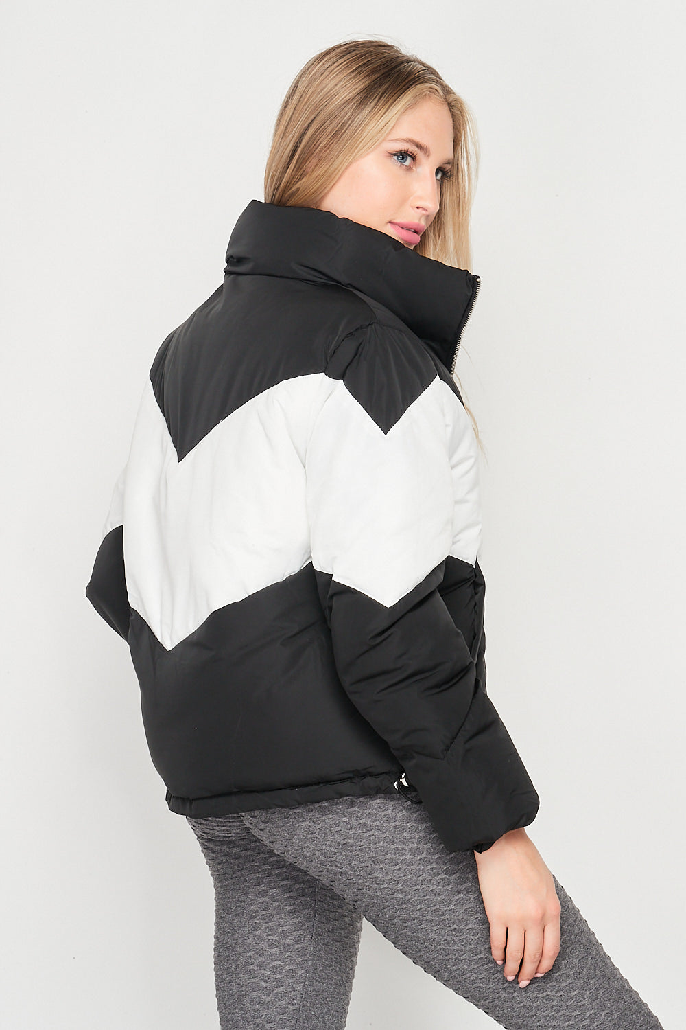 Blank Lewks | Warm Feeling Nylon Puffer Jacket | Black/White
