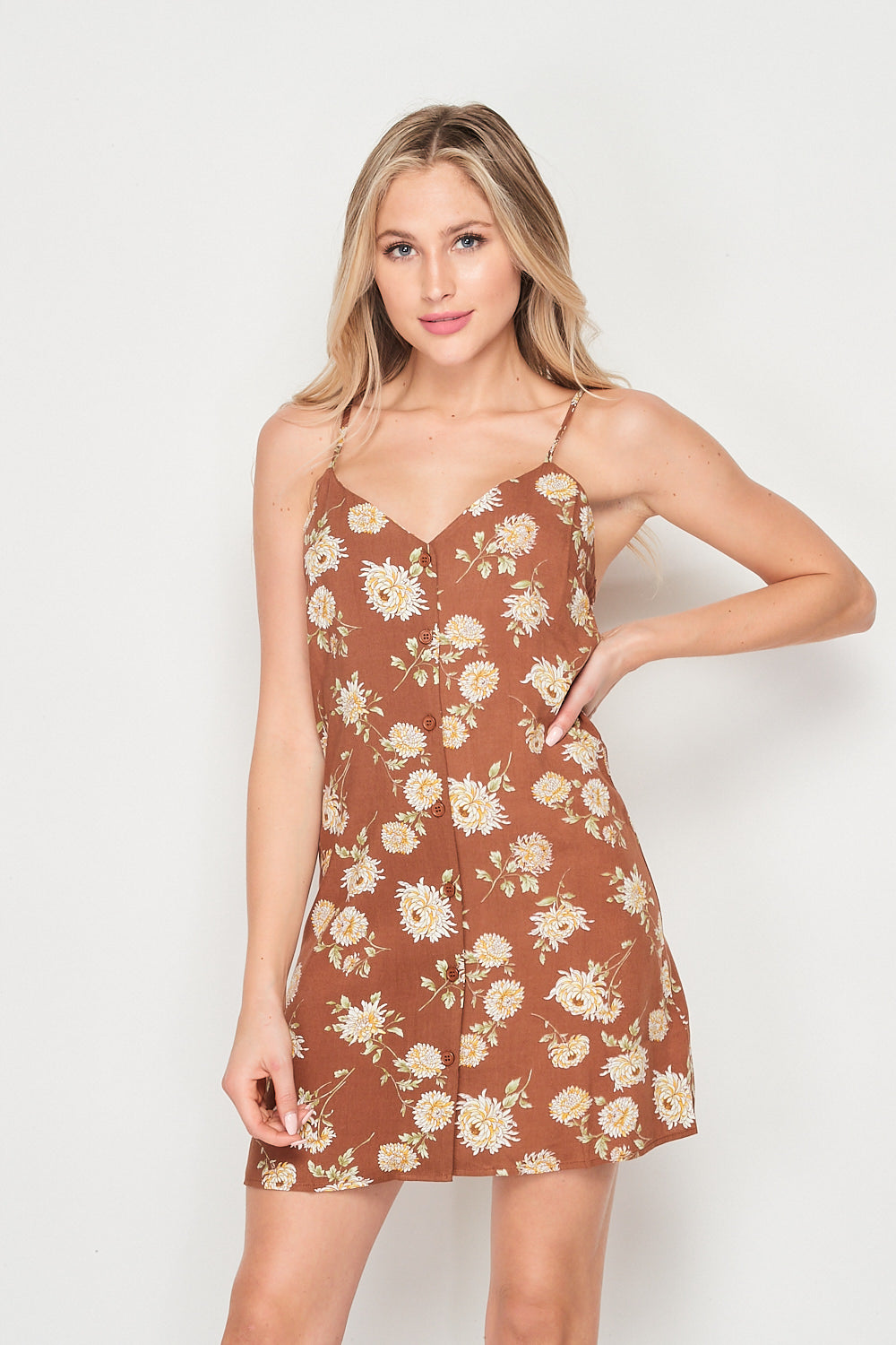 Blank Lewks | Flower Power Camisole Style Dress | Brown