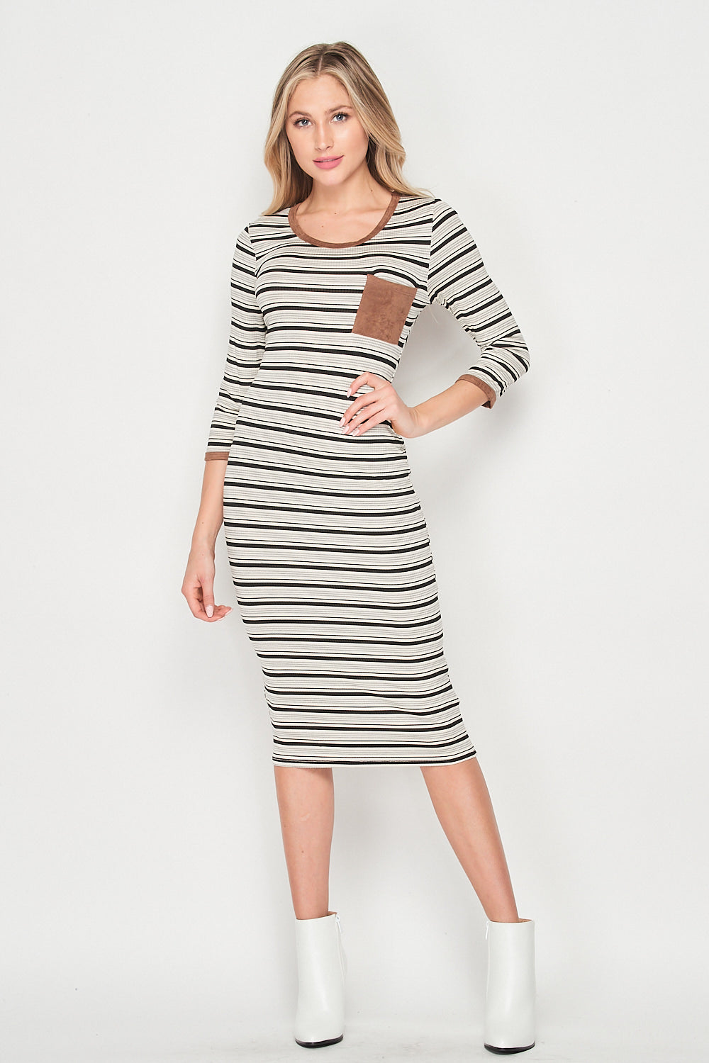 Blank Lewks | Serena Stripe Knit Body con Knit Dress | Brown