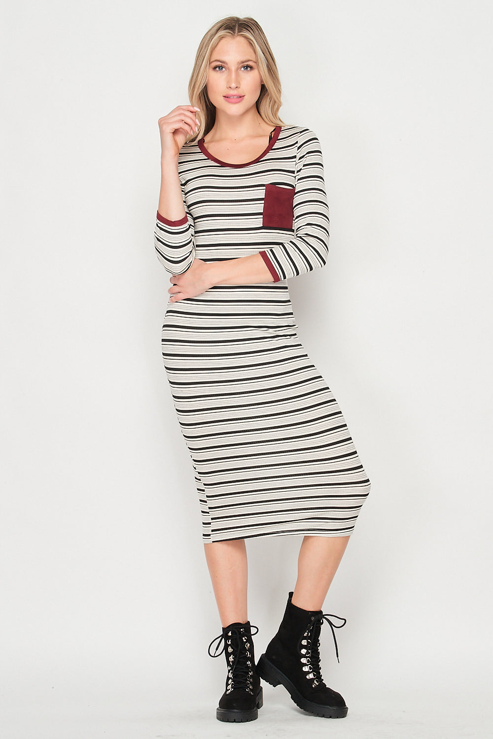 Blank Lewks | Serena Stripe Knit Body con Knit Dress  | Red