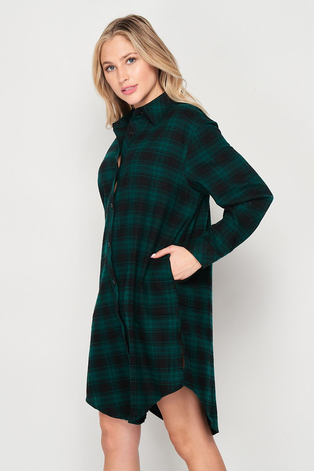 Blank Lewks | Wild And Free Oversize Flannel Shirt Dress | Hunter Green