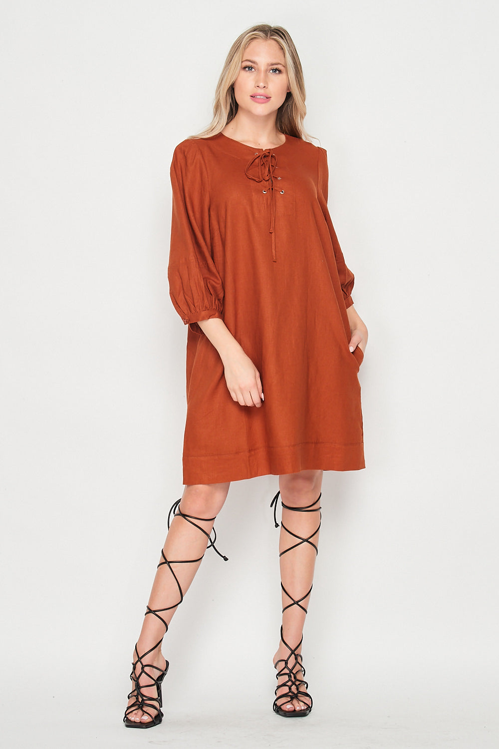 Blank Lewks | City Girl Linen Shift Dress With Puffy Sleeves | Rust
