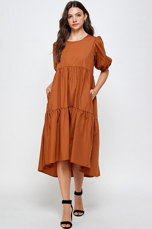 Blank Lewks | Love To Frock Tiered Poplin Dress | Camel