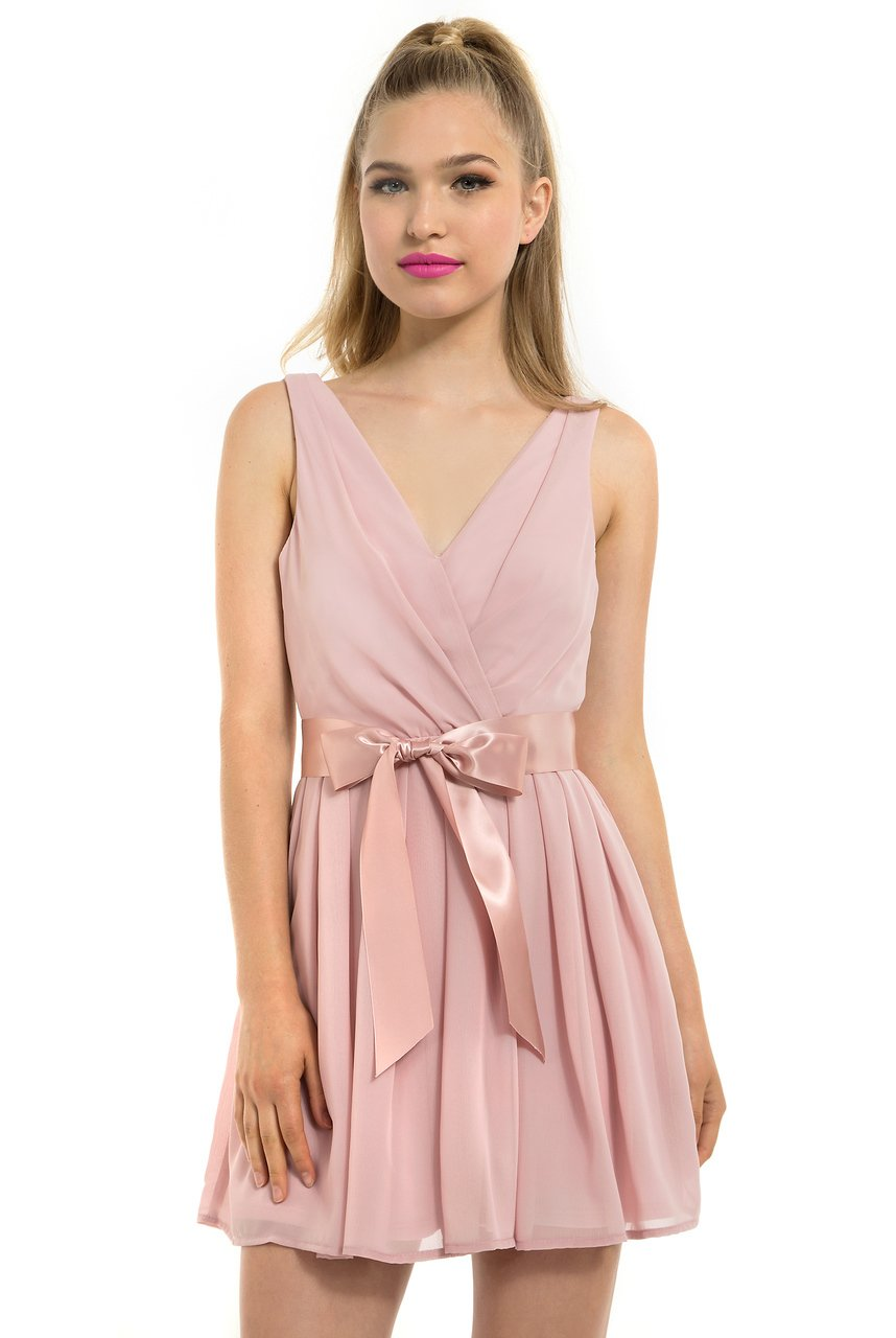 Teeze Me | Sleeveless V-Neck Surplice Pleated Skirt Social Dress  | Mauve | Teeze Me Juniors Apparel