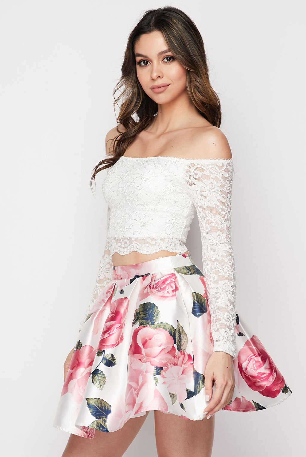 Teeze Me | Two-Piece Lace and Floral Dress | White/Blush