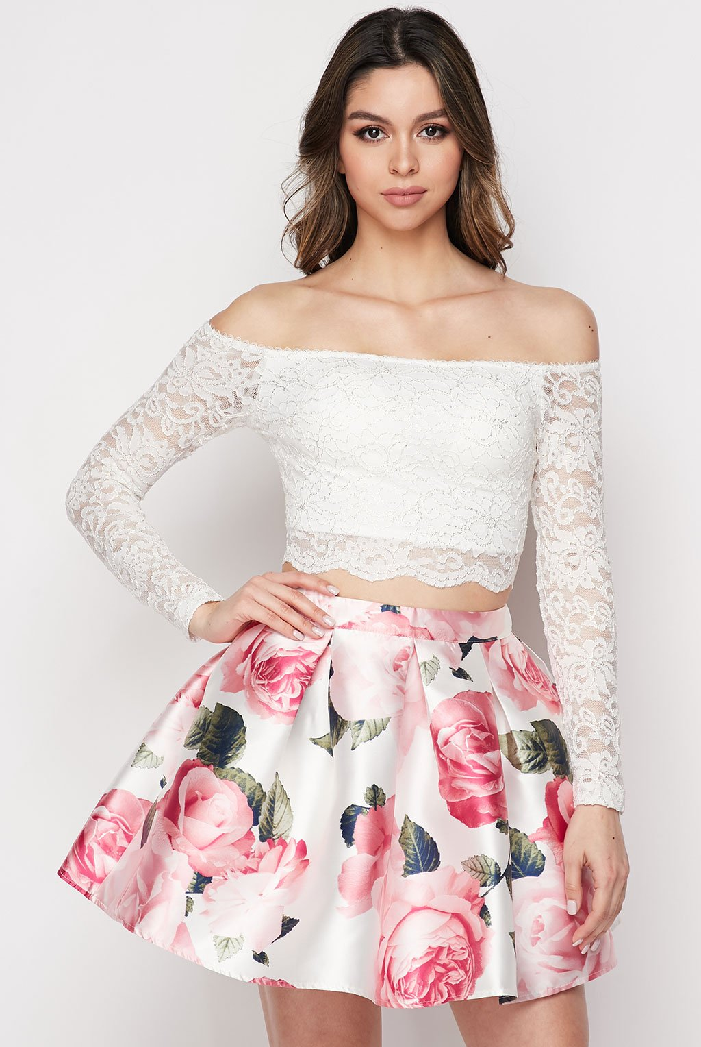 Teeze Me | Two-Piece Lace and Floral Dress | White/Blush | Teeze Me Juniors Apparel