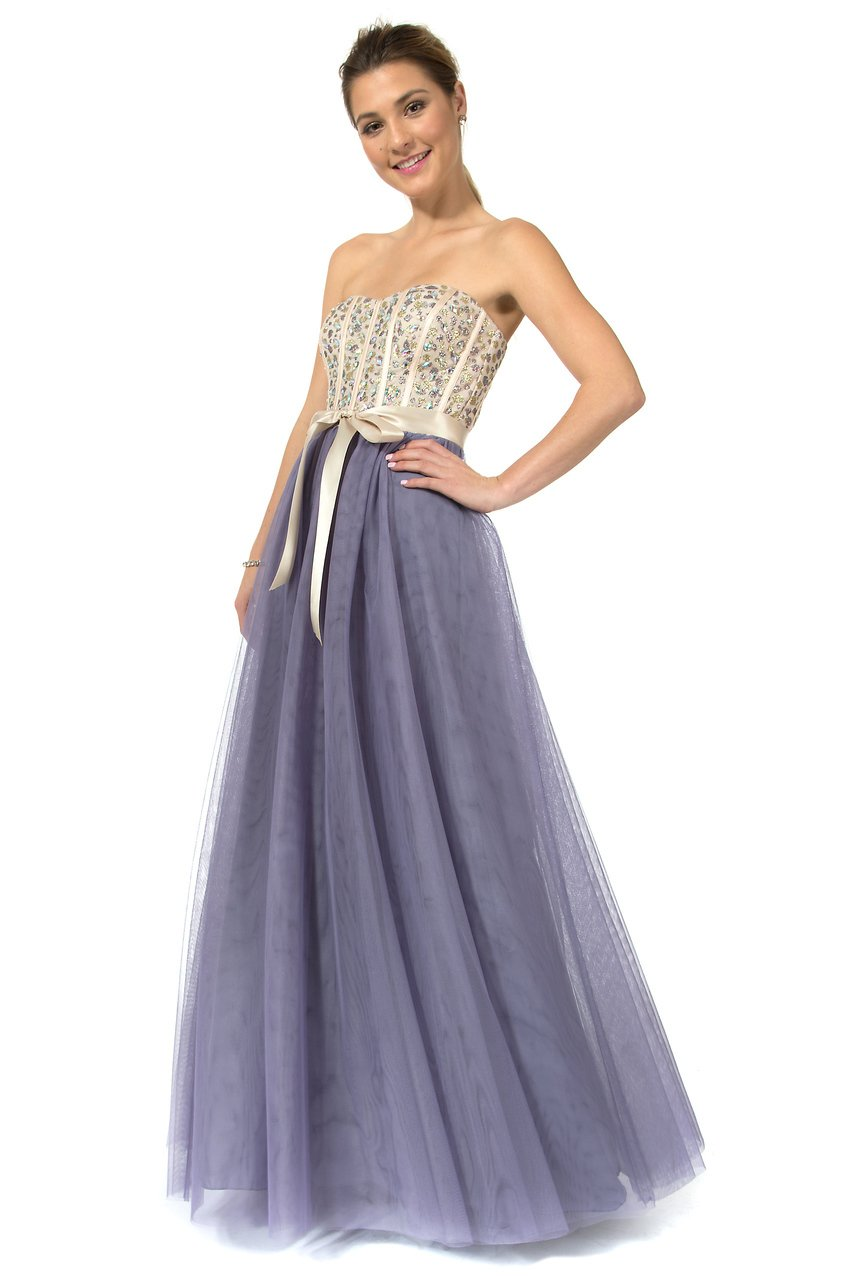 Teeze Me | Queen Colleen Strapless Corset Jewel Beaded Full Tulle Skirt Long Dress | Champagne/Lilac
