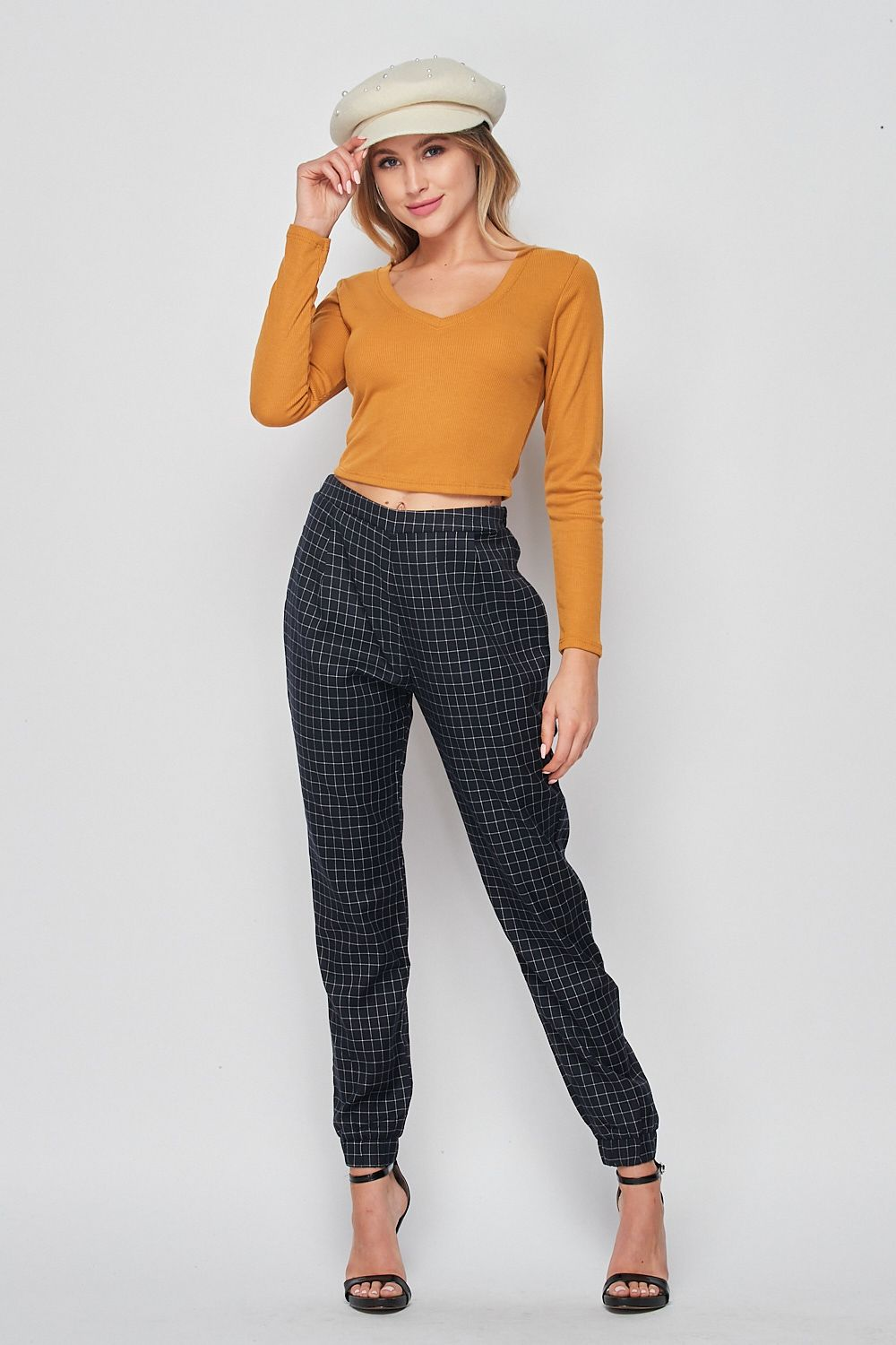 Blank Lewks | High Waisted Office Jogger Pants | Navy