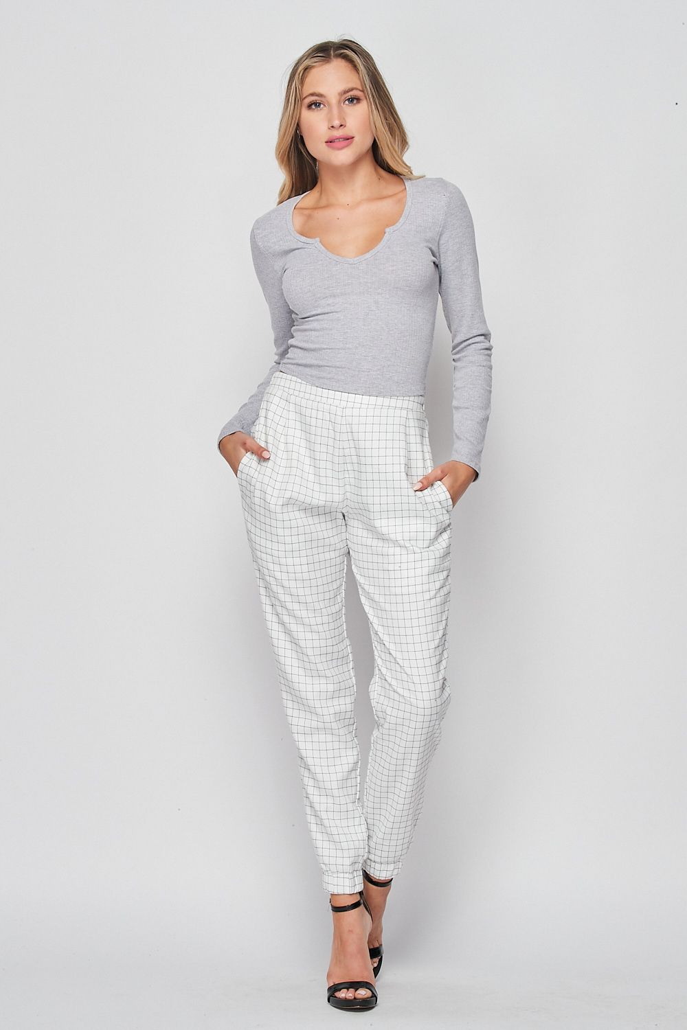 Blank Lewks | High Waisted Office Jogger Pants | White