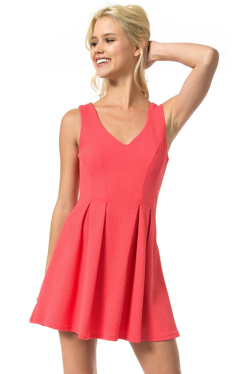 Teeze Me | Sleeveless V-Neck Textured Dress | Melon