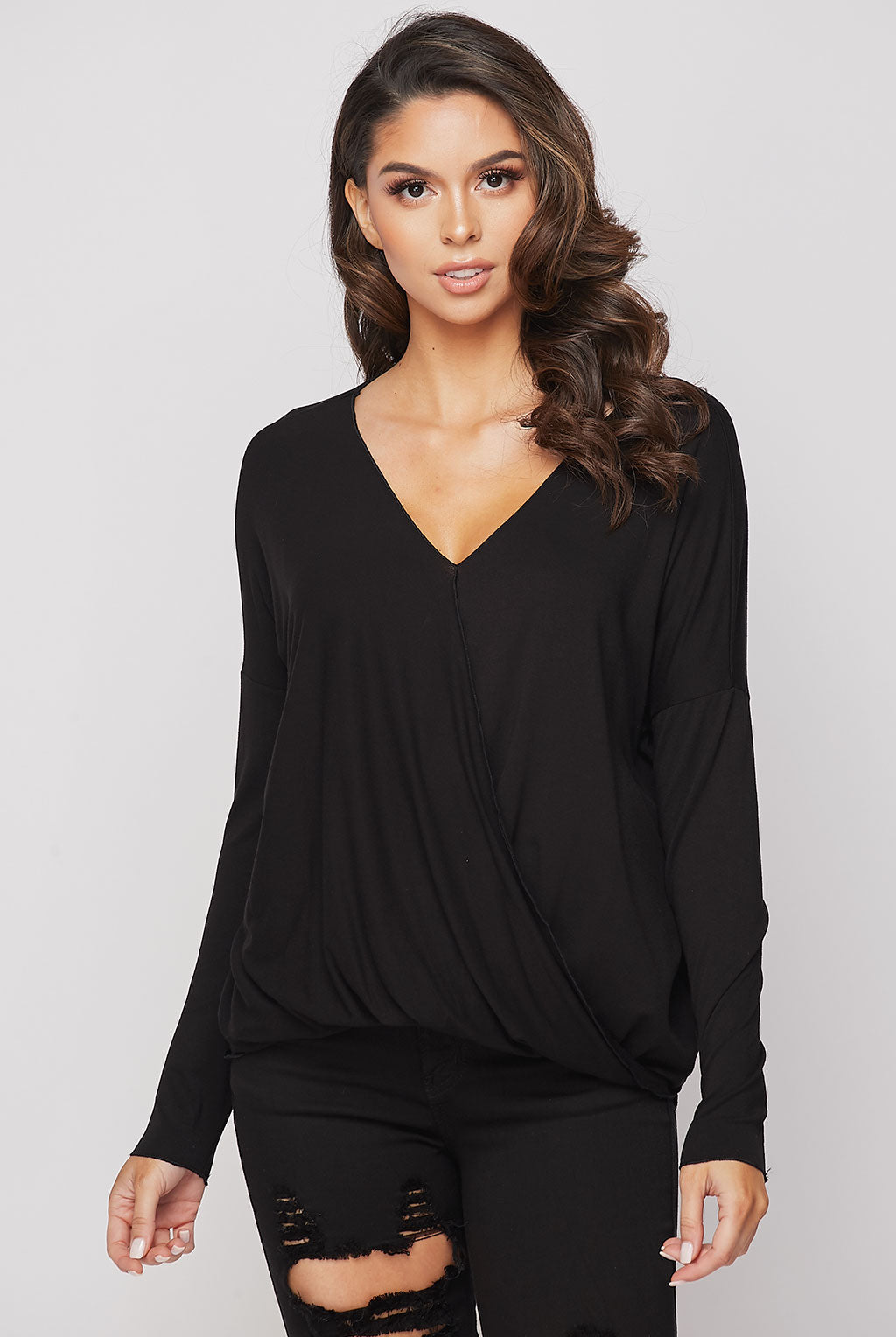 Teeze Me | Long Sleeve Surplice Draped High-Low Top | Black