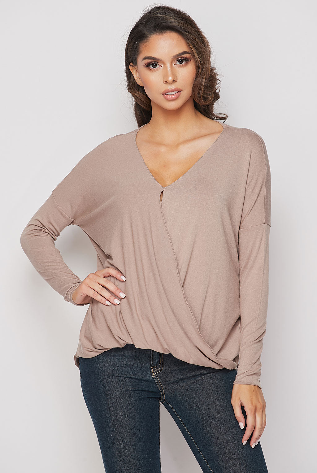 Teeze Me | Long Sleeve Surplice Draped High-Low Top | Iced Coffee