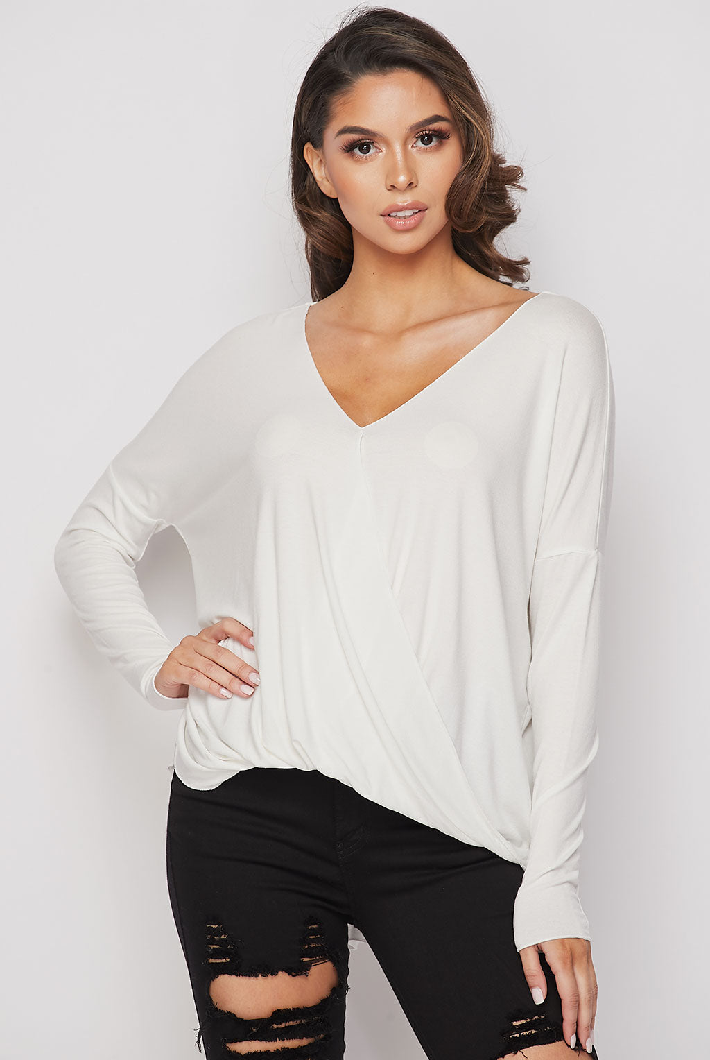 Teeze Me | Long Sleeve Surplice Draped High-Low Top | Off-White