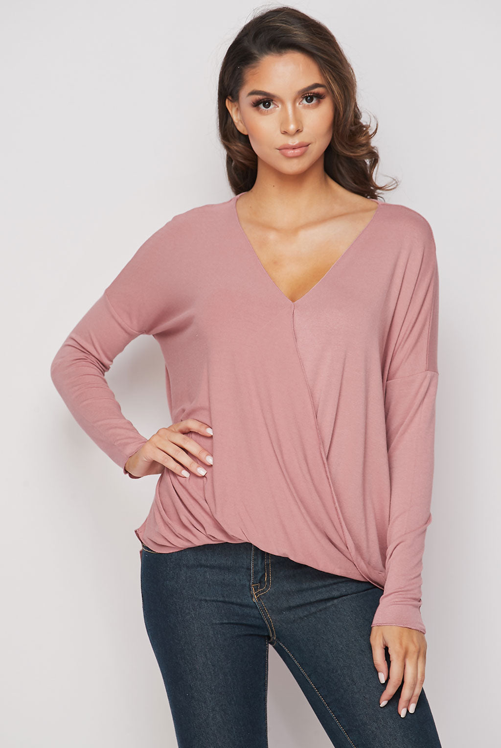 Teeze Me | Long Sleeve Surplice Draped High-Low Top | Vintage Rose