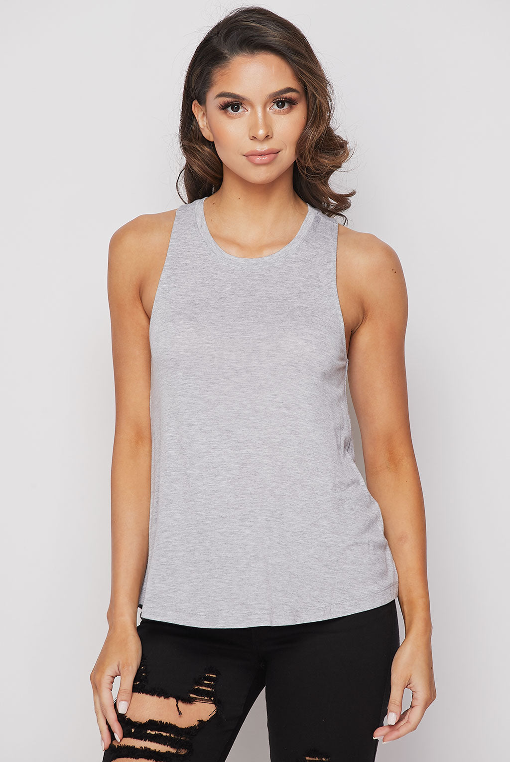 Teeze Me | Sleeveless Crew Neck Loose Fit Tank Top | Heather Grey