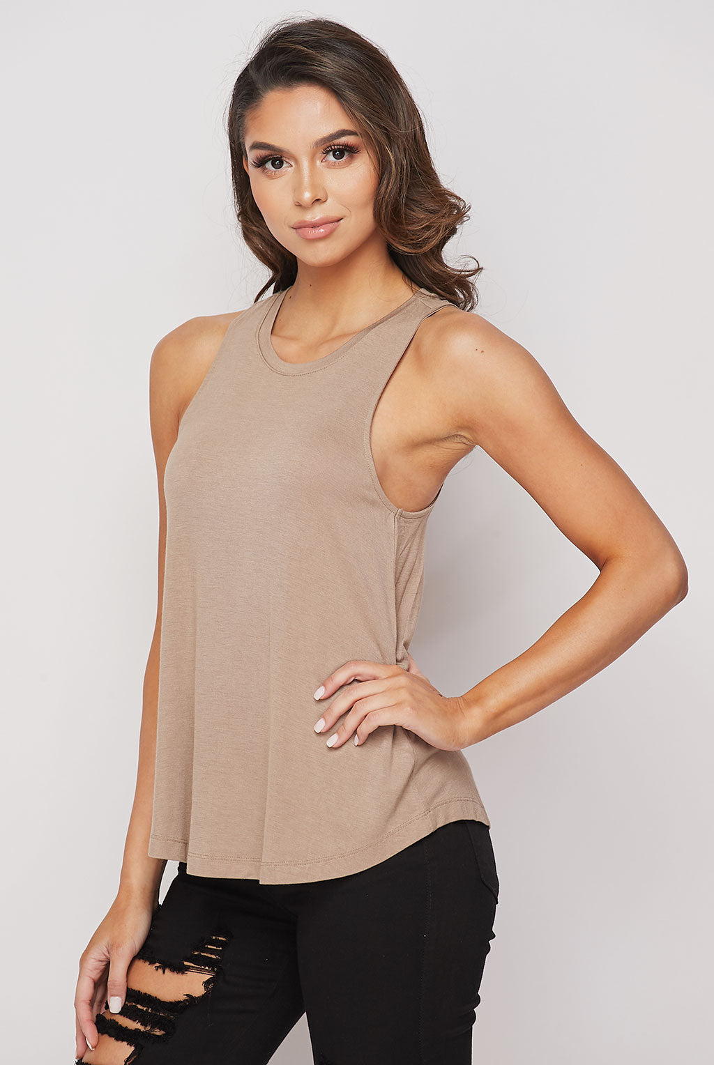 Teeze Me | Sleeveless Crew Neck Loose Fit Tank Top | Greige
