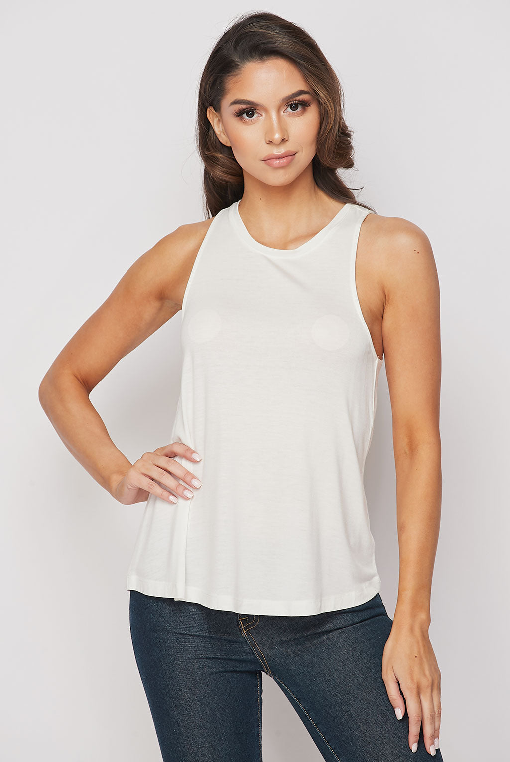 Teeze Me | Sleeveless Crew Neck Loose Fit Tank Top | Off-White