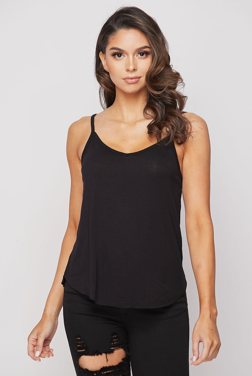 Teeze Me | V Neck Curved Hem Camisole Top | Black