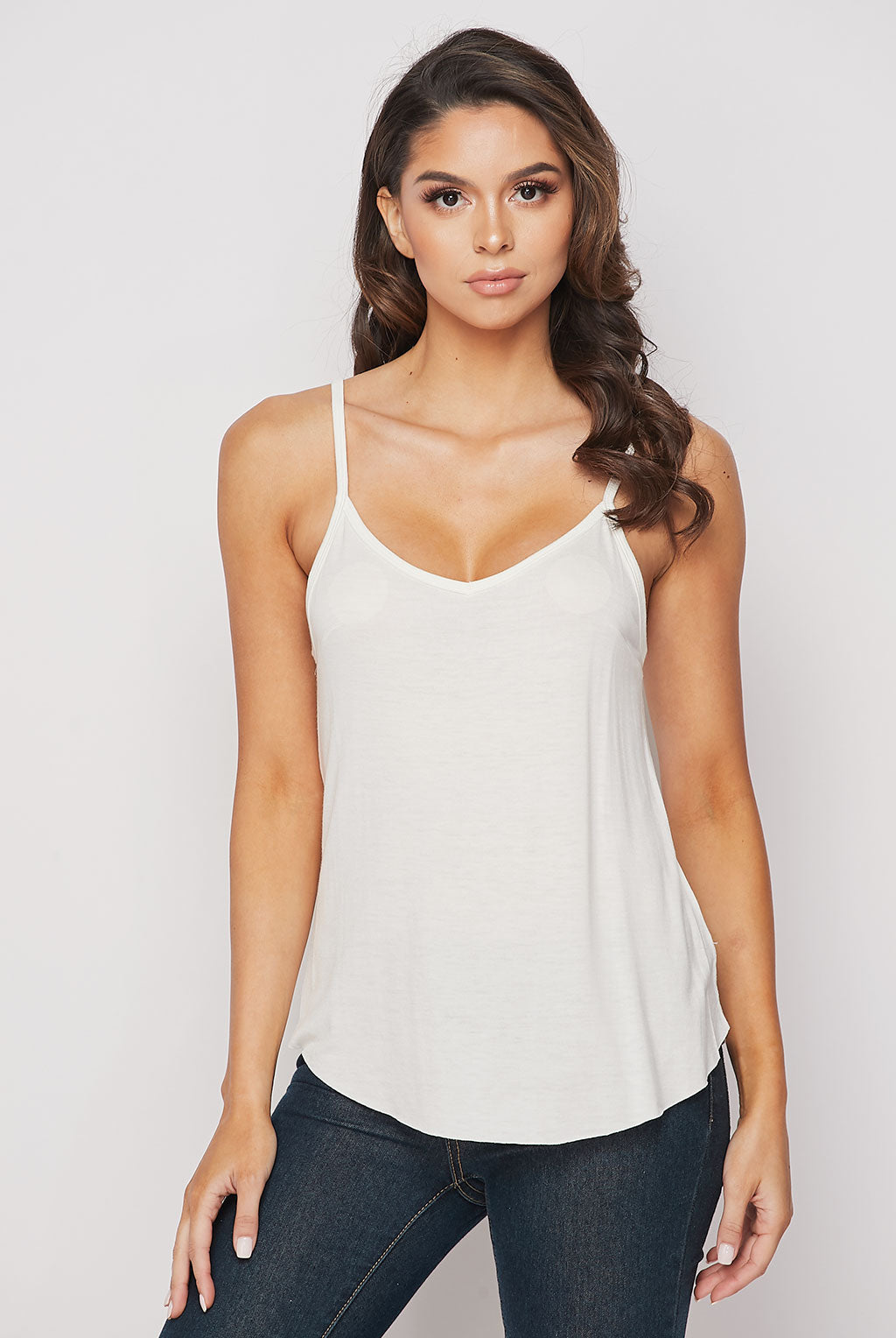 Teeze Me | V Neck Curved Hem Camisole Top | Off-White