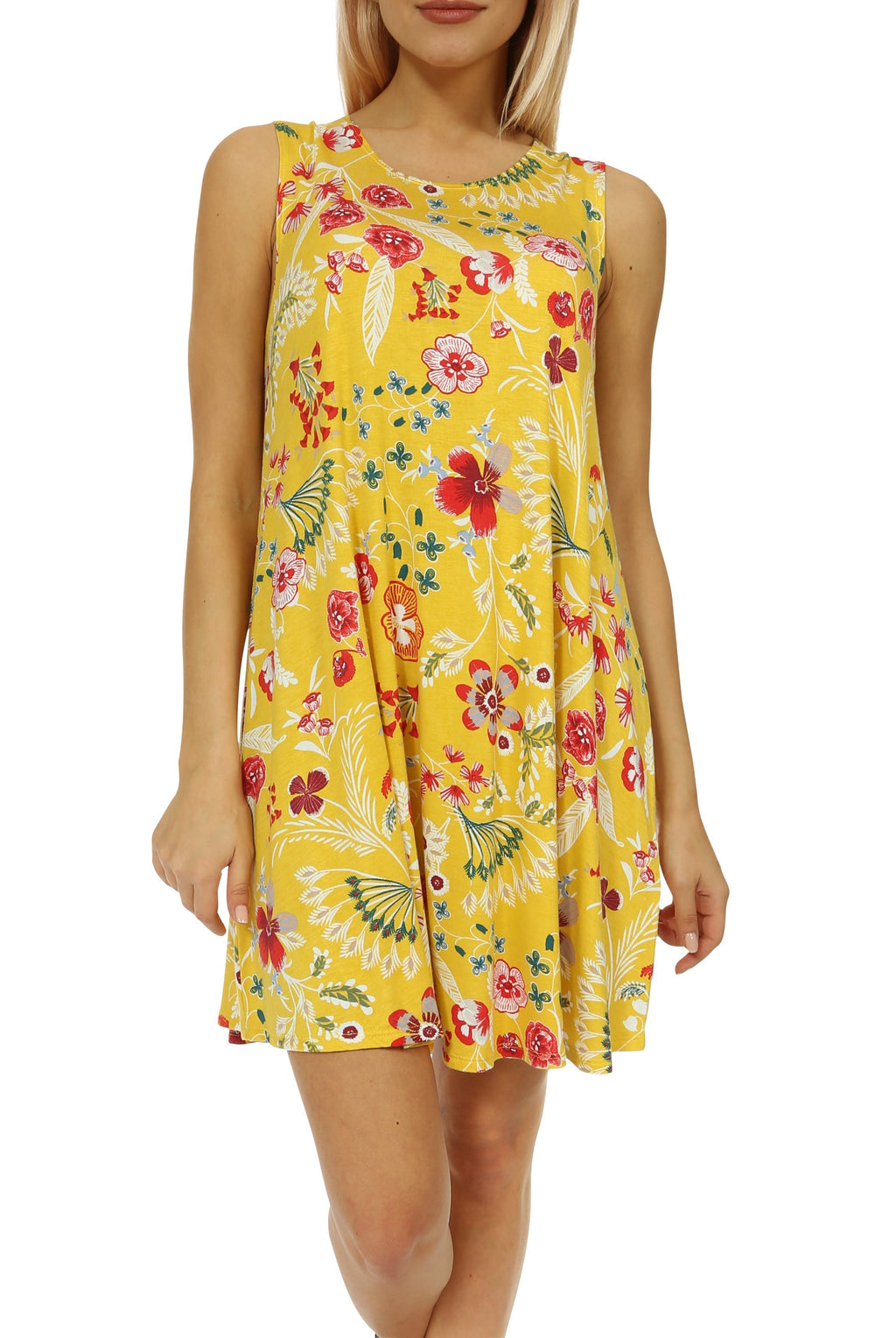 Teeze Me | Sleeveless Scoop Neck Floral Print Swing Dress | Yellow