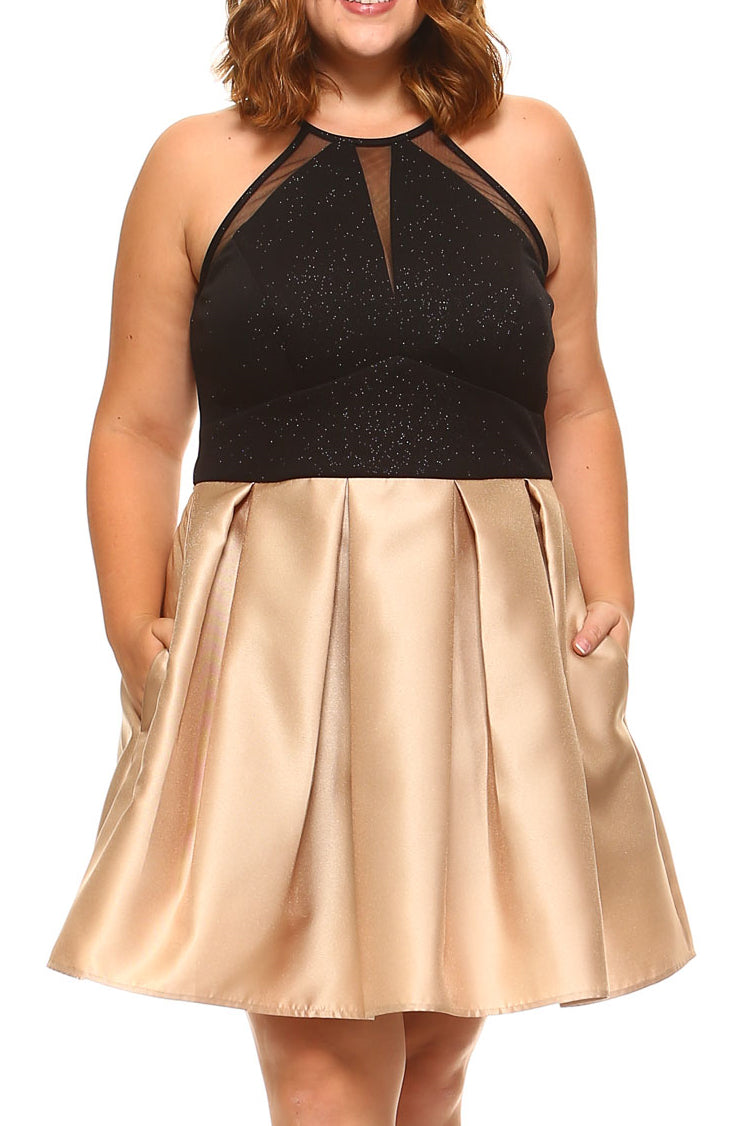 Teeze Me | Plus Sleeveless Halter Round Neck Deep V Illusion Front Glitter Top Pleated Party Dress | Black/Gold - Teeze Me