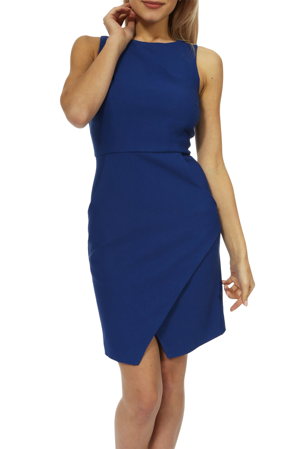 Teeze Me | Sleeveless Round Neck Shoulder Pleated Sheath Dress With Pockets | Royal