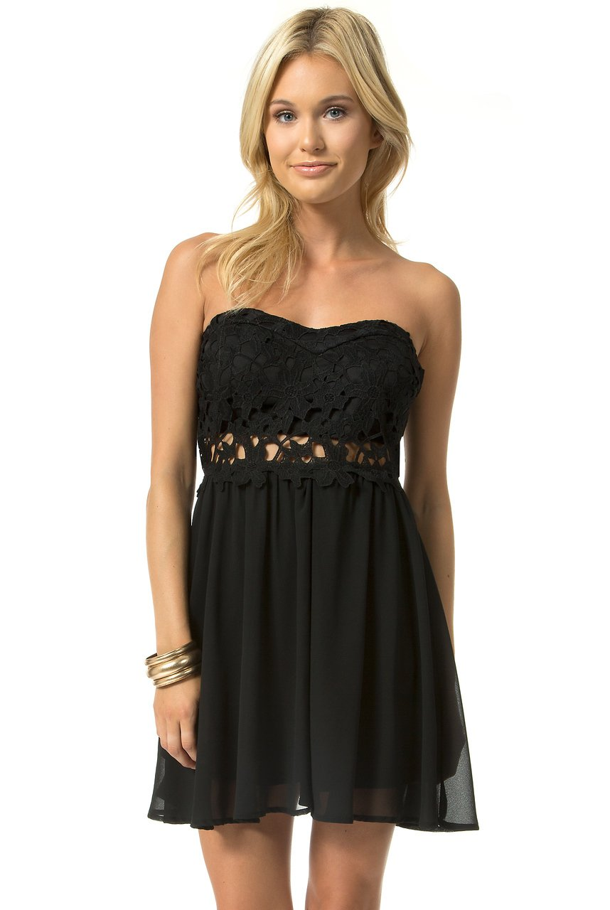 Teeze Me | Strapless Floral Lace Illusion Waist Dress | Black