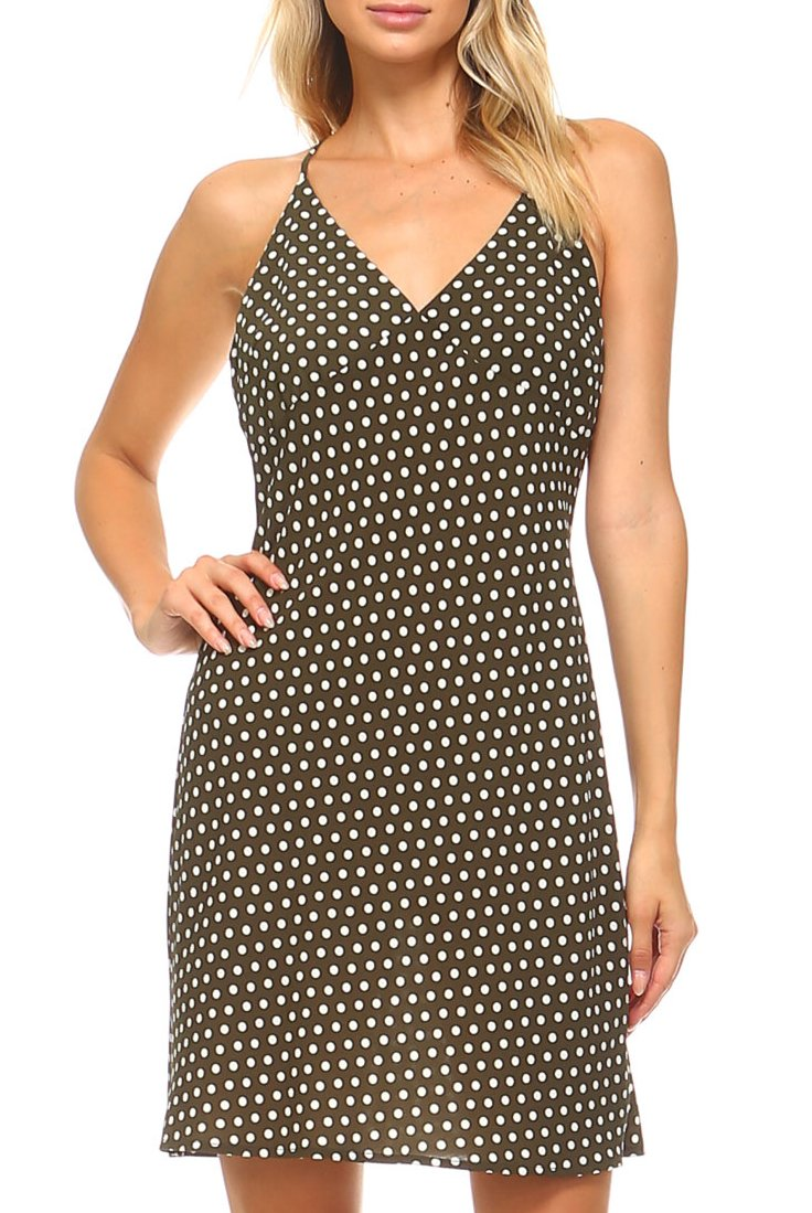 Teeze Me | Spaghetti Strap V-Neck Polka Dot Dress | Olive/Cream