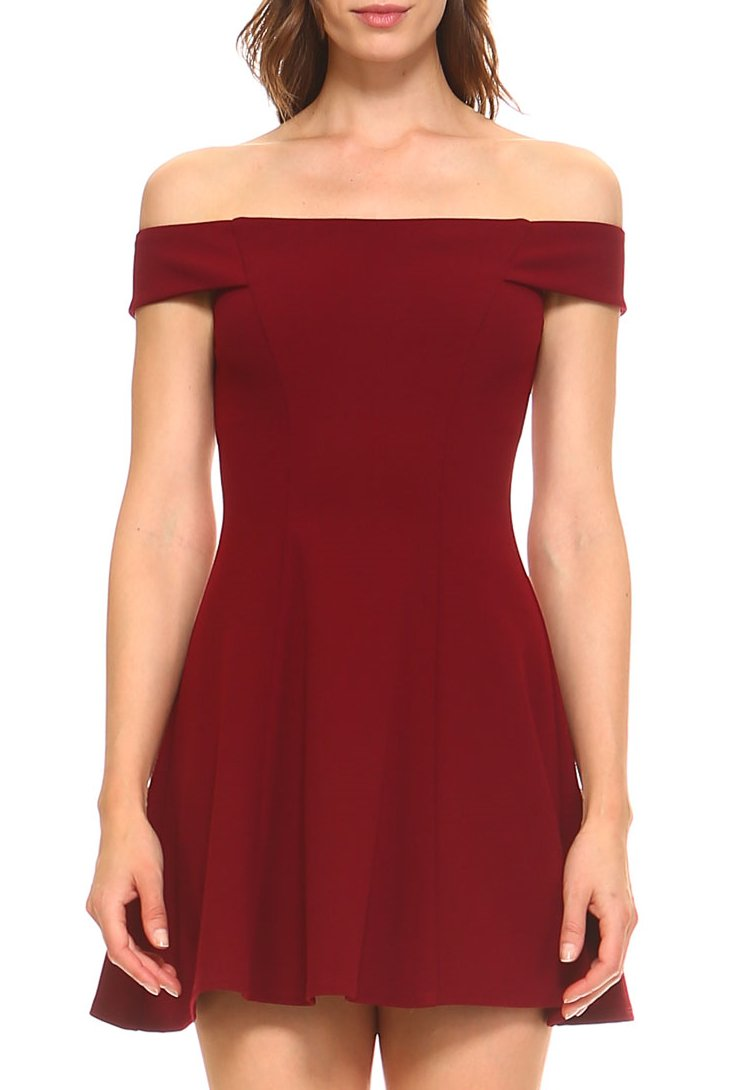 Teeze Me | Off-The-Shoulder Skater Dress | Wine