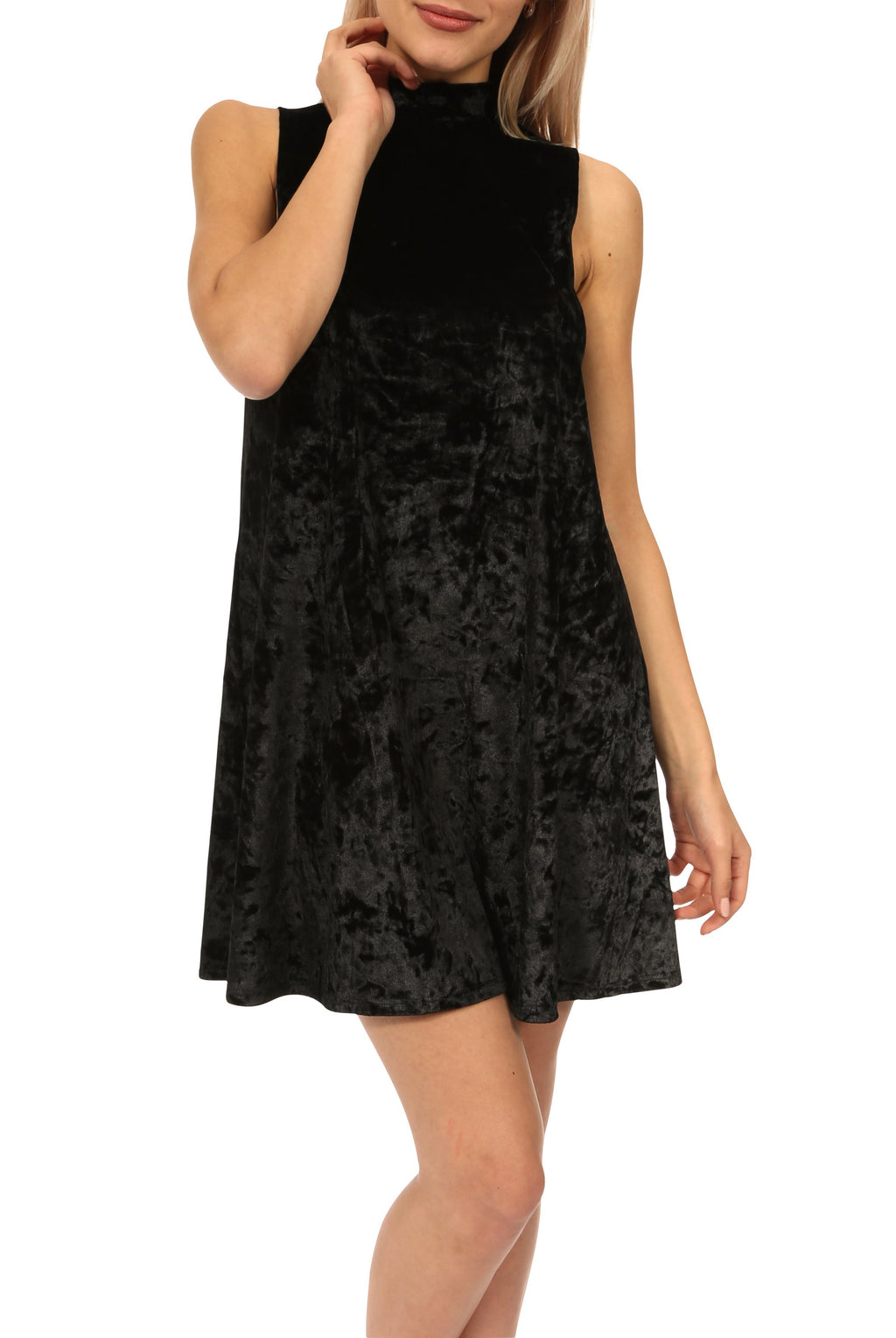 Teeze Me | Sleeveless High Neck Velvet Shift Dress | Black