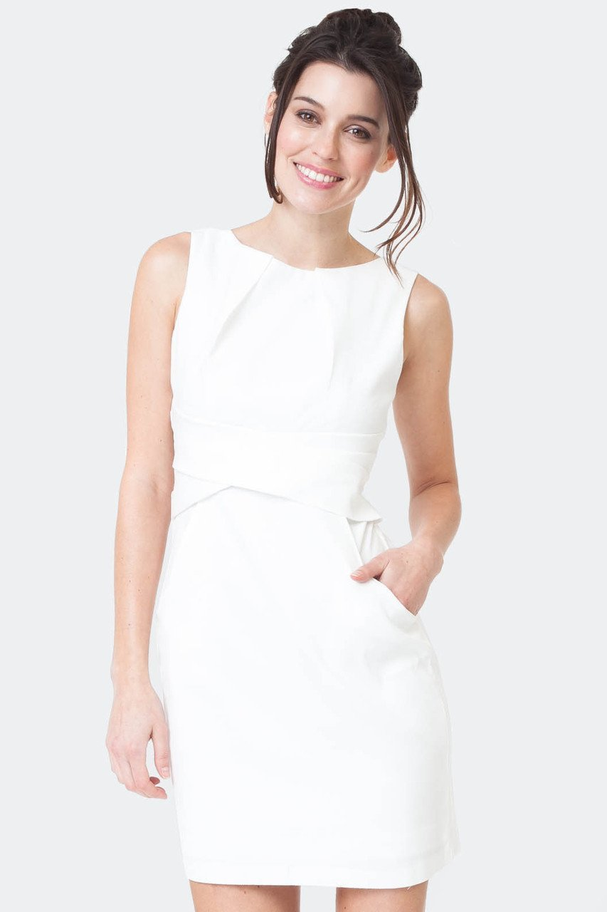 Teeze Me | Sleeveless Textured Tank Cross Waist Sheath Dress With Pockets  | Off-White