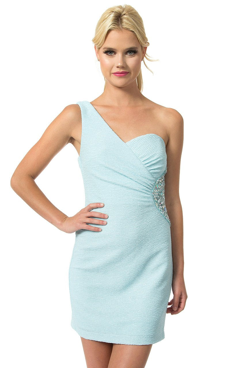 Teeze Me | One Shoulder Glitter Bubble Knit Jeweled Dress | Baby Blue | Teeze Me Juniors Apparel