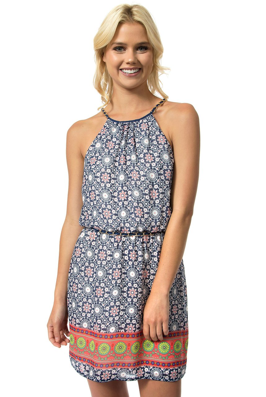 Teeze Me | Sleeveless Halter Top Chain Strap Printed Dress | Blue/Red - Teeze Me