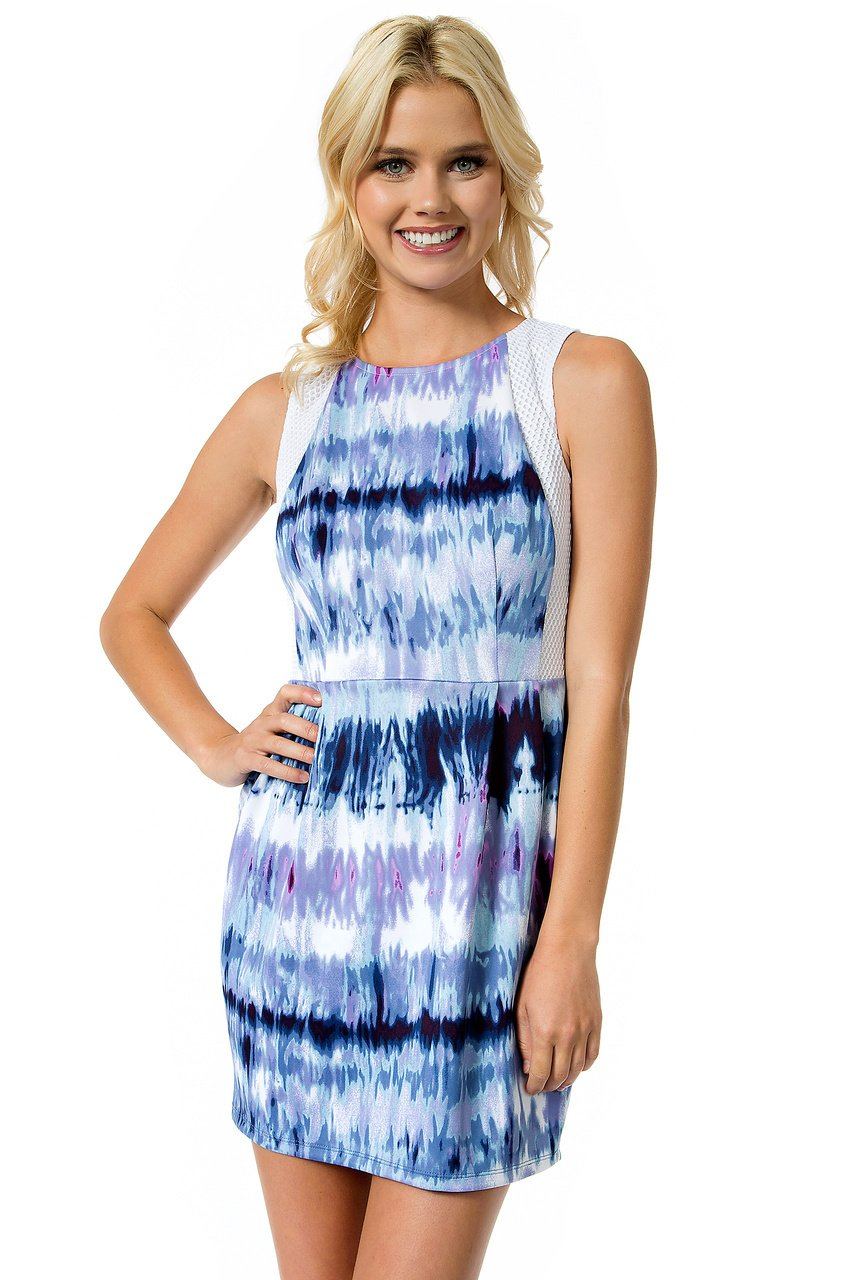 Teeze Me | Sleeveless Tie Dye Print Scuba Dress | Off-White/Blue | Teeze Me Juniors Apparel