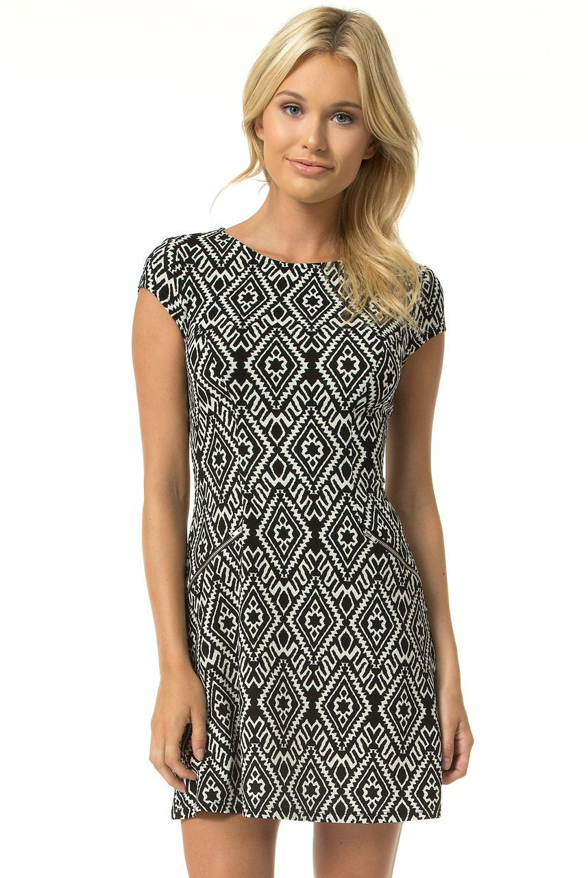 Teeze Me | Cap Sleeve Tribal Print Dress | Black/Off-White - Teeze Me