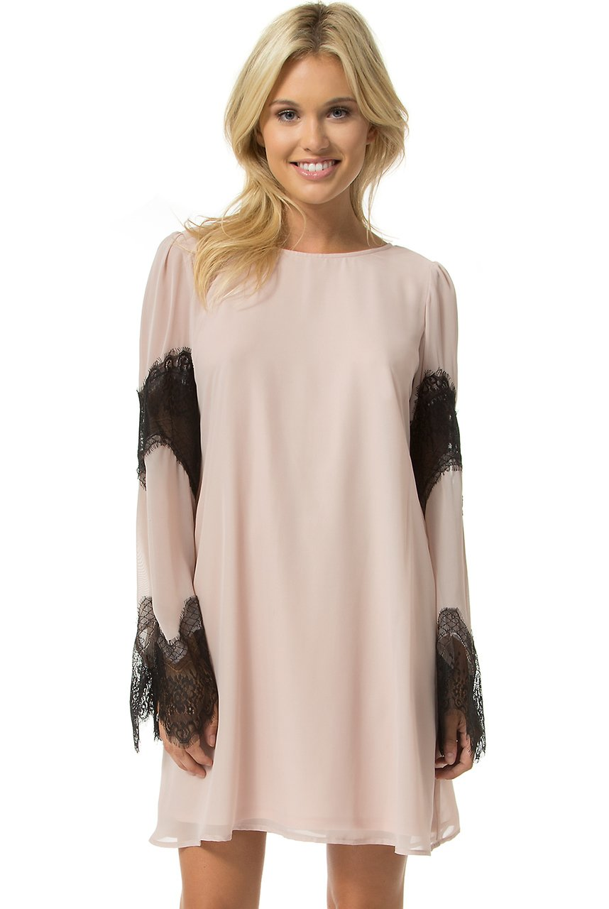 Teeze Me | Long Sleeve Lace Chiffon Shift Dress | Rose/Black | Teeze Me Juniors Apparel