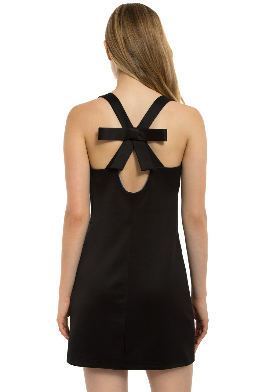 Teeze Me | Sleeveless Cross Back With Bow Scuba Dress | Black/Royal