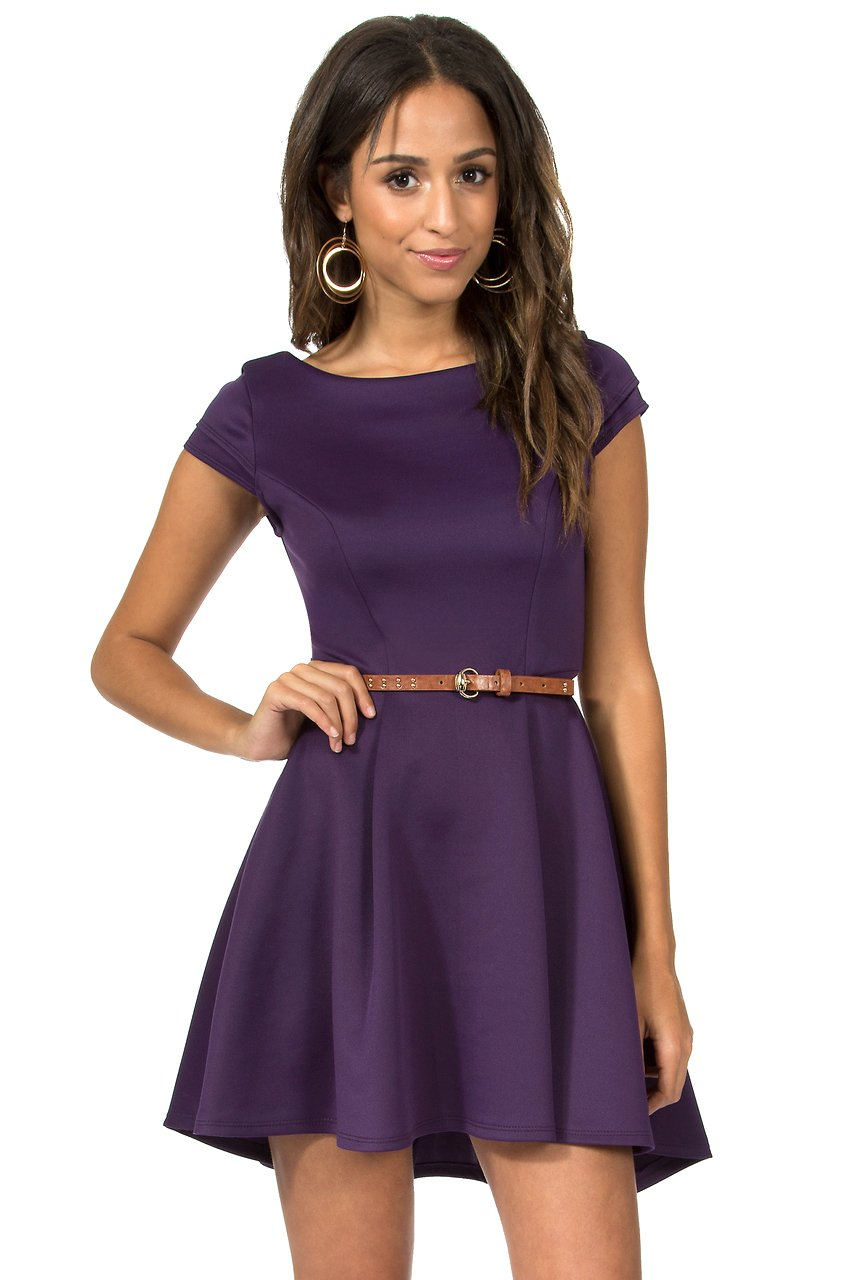 Teeze Me | Cap Sleeve High-Low Fit and Flare Scuba Dress  | Purple | Teeze Me Juniors Apparel