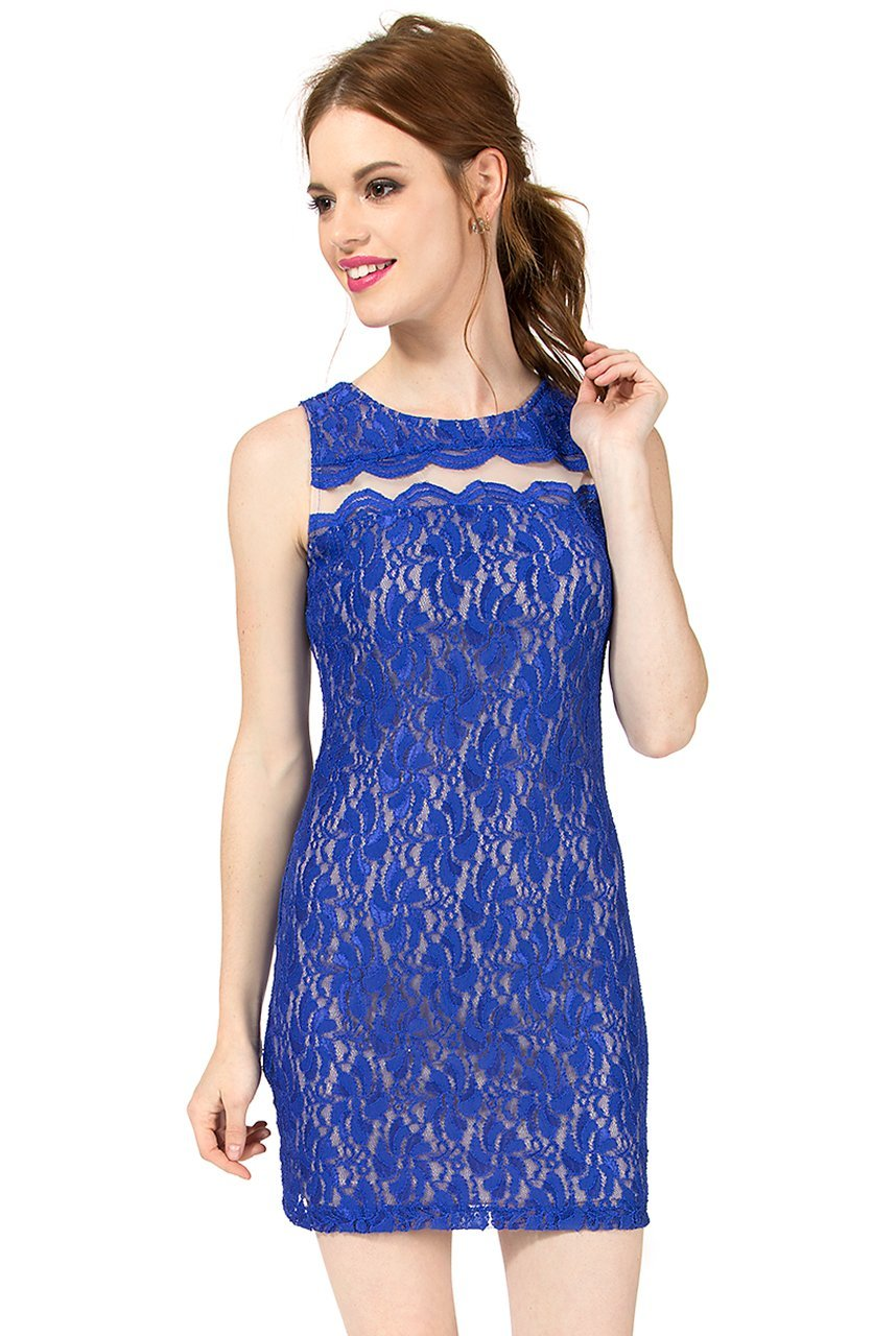 Teeze Me | Sleeveless Floral Lace Illusion Dress | Royal - Teeze Me