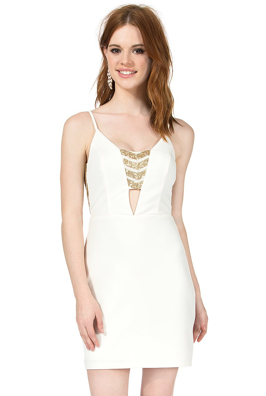 Teeze Me | Spaghetti Strap Sequin Cutout Dress | White/Gold | Teeze Me Juniors Apparel