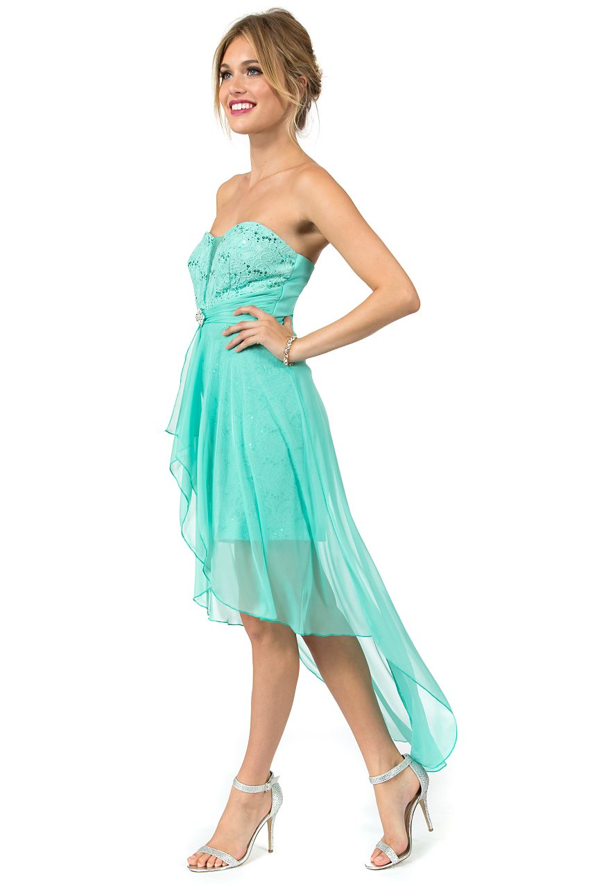 Teeze Me | Strapless Illusion V Lace With Brooch High-Low Dress  | Spearmint - Teeze Me