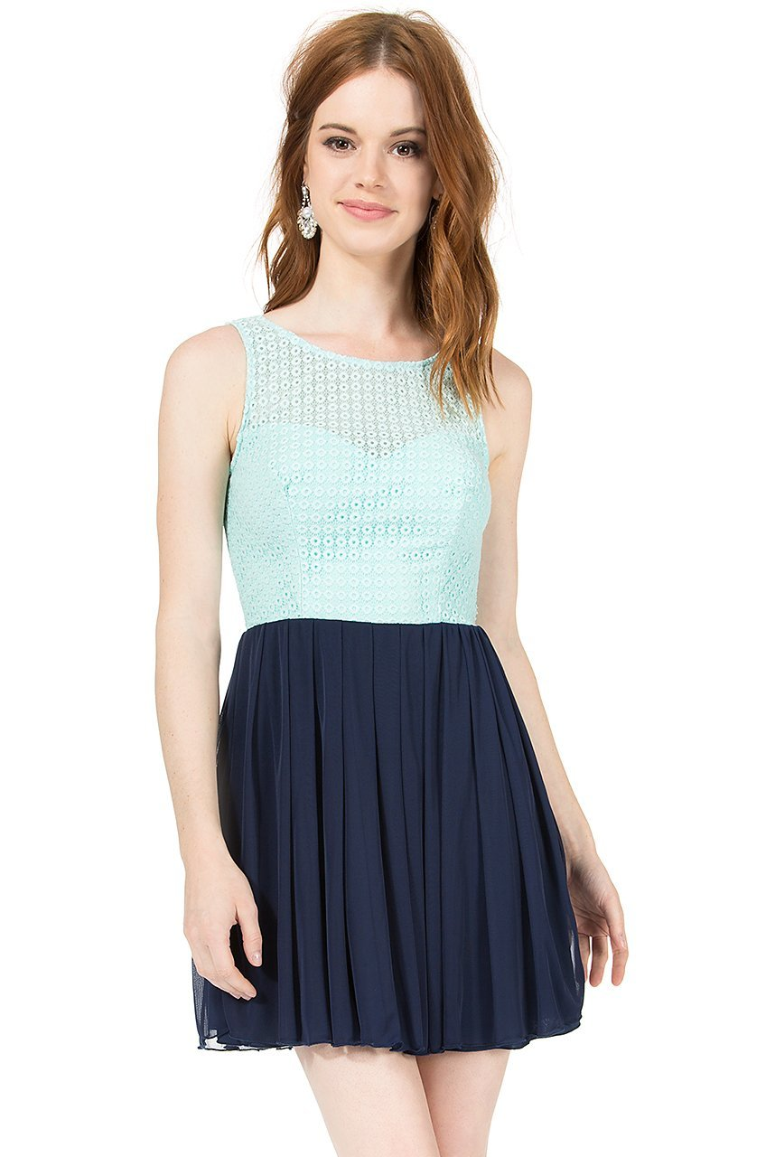 Teeze Me | Sleeveless Lace Illusion Top Pleated Skirt Dress | Mint/Navy - Teeze Me