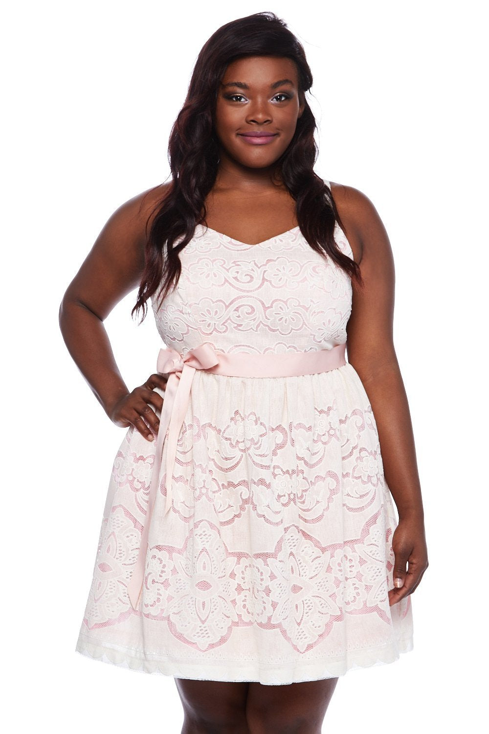 Teeze Me | Spaghetti Strap Floral Fit and Flare Dress Plus | Pink