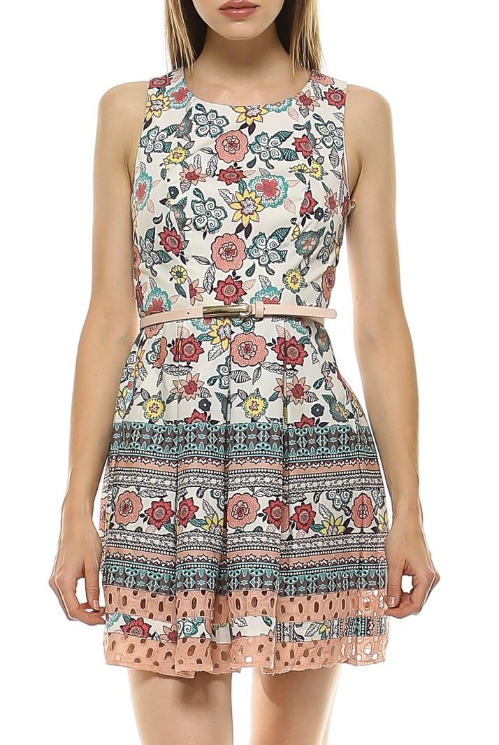 Teeze Me | Sleeveless Printed Box Pleat Skirt Dress | Blush/Multi | Teeze Me Juniors Apparel