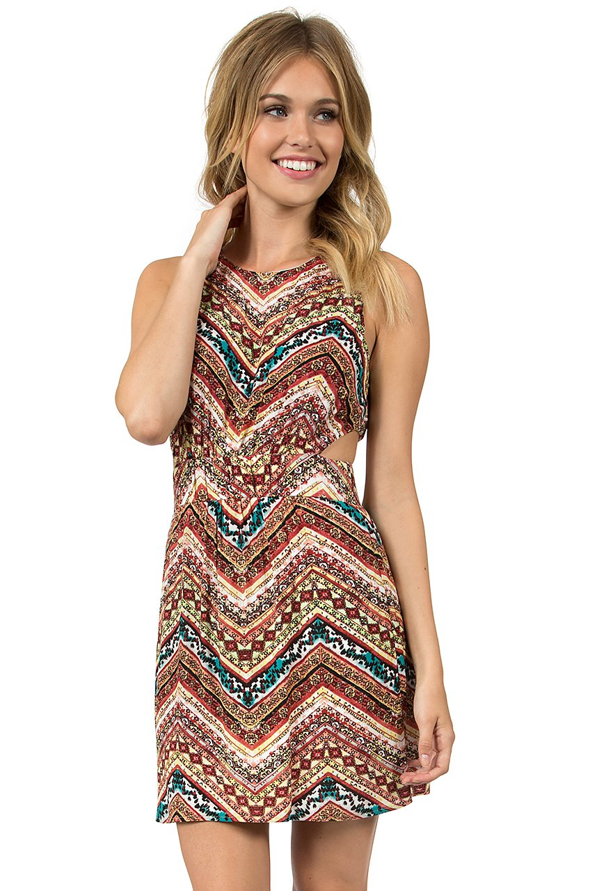 Teeze Me | Sleeveless Tribal Print Cutout Waist Dress | Multi - Teeze Me