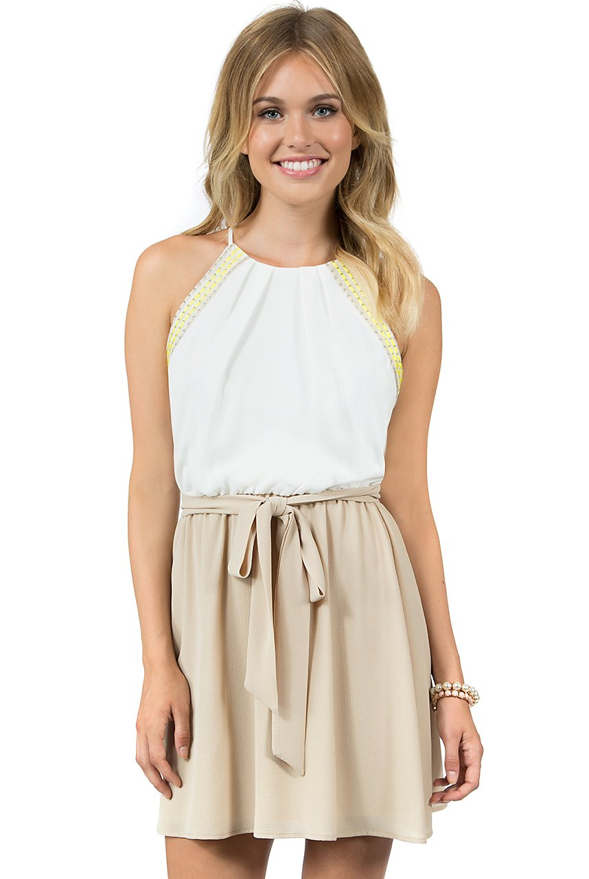 Teeze Me | Sleeveless Halter Top Embroidered Trim Blouson Dress | Off-White/Beige - Teeze Me