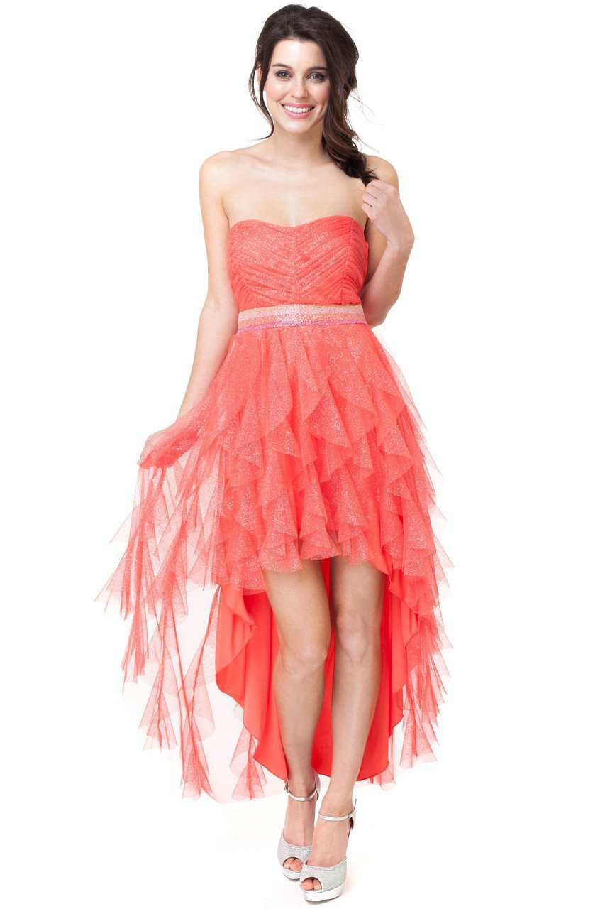 Teeze Me | Strapless Jewel Embellished Waist High-Low Dress | Fire - Teeze Me Juniors Apparel
