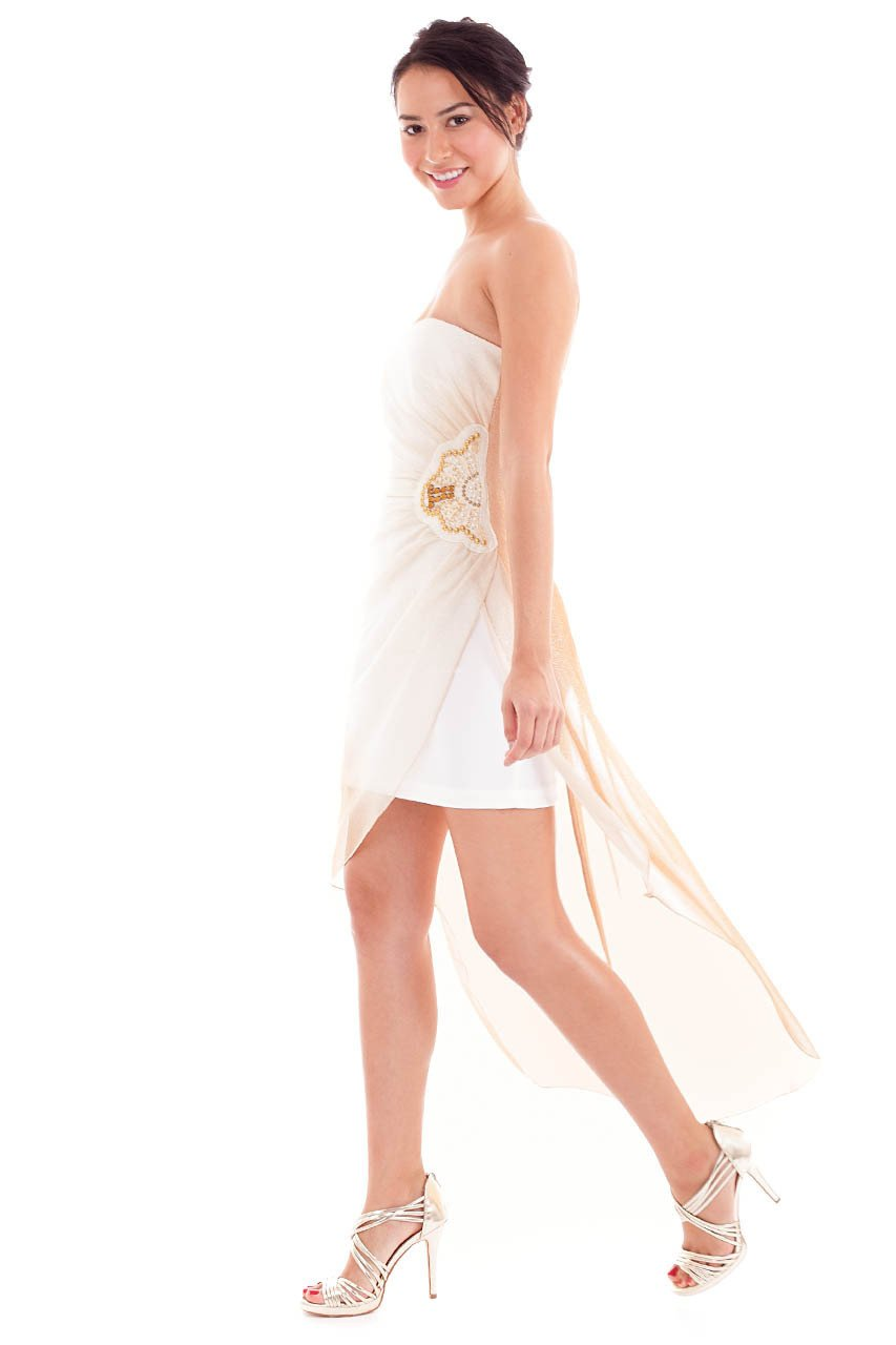 Teeze Me | Strapless Ombre Side Waist Embellished Illusion High-Low Dress | Champagne/Honey | Teeze Me Juniors Apparel
