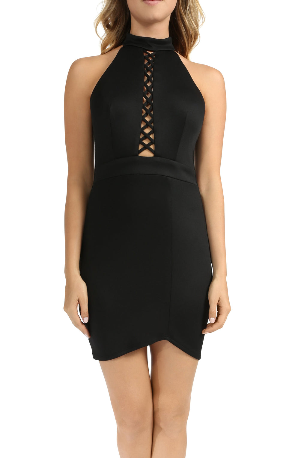 Teeze Me | Sleeveless Halter High Neck Crisscross Front Fitted Dress with Asymmetric Hem  | Black
